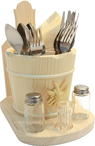 glamalms besteckbeh lter besteckhalter fichte roh mit untersatz salz pfefferund zahnstocher. Black Bedroom Furniture Sets. Home Design Ideas